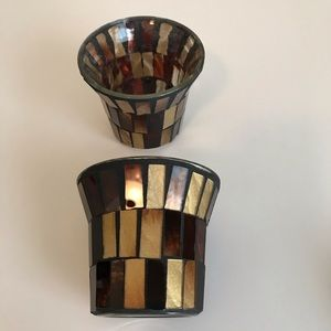 Set of 2, Stained Glass Votive Candle Holders